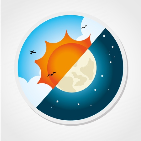 time of the day: day and night design over gray background  Illustration