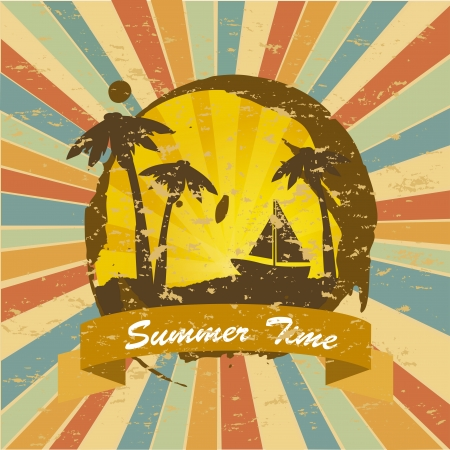 time over: summer time over grunge background