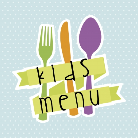 childrens meal: kids menu over blue background  Illustration