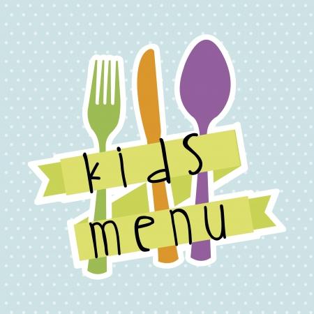 aliments droles: menu pour enfants sur fond bleu