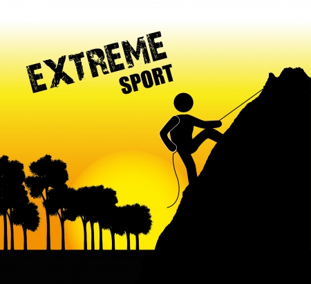 extreme sport over late afternoon background  Vector