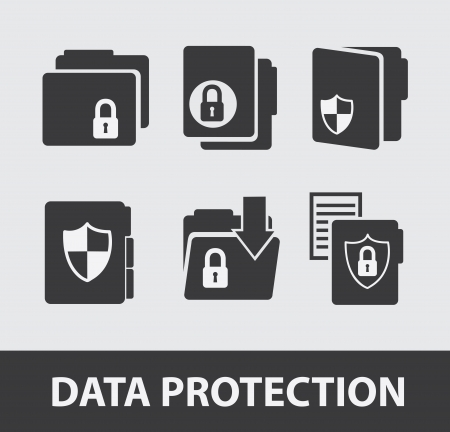 data protection icons over gray background