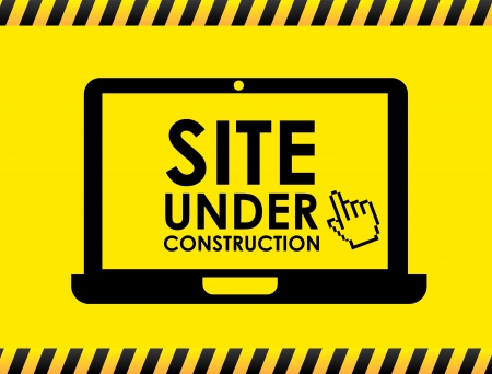 site under construction over yellow Stock Vector - 20756463