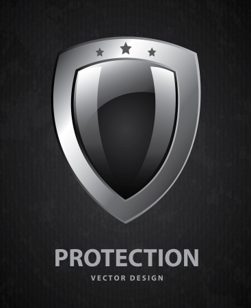 guard  guardian: shield design over black background