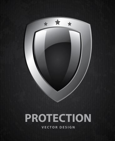 defend: shield design over black background