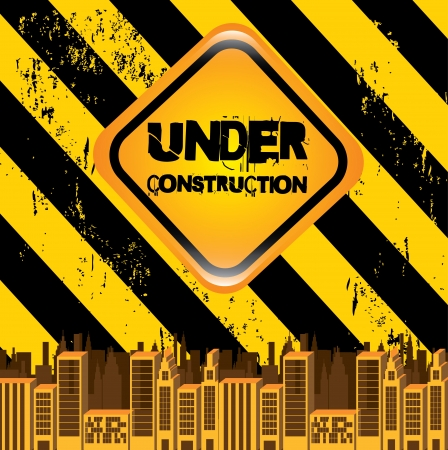 under construction signal over lineal background Stock Vector - 20756477