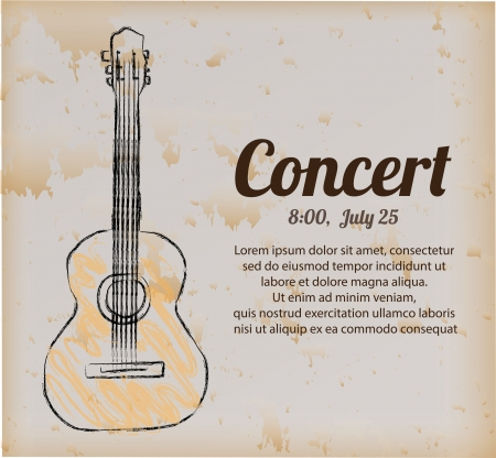 poster concert over vintage background  Ilustração