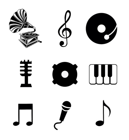 music icons over white background Vector