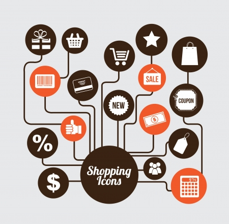shopping icons over gray background  Vector