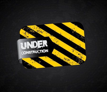 under construction label over black background  Stock Vector - 20756539