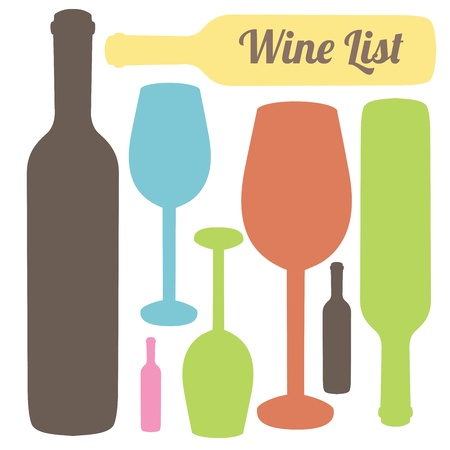 wine bottle: wine list over white background.