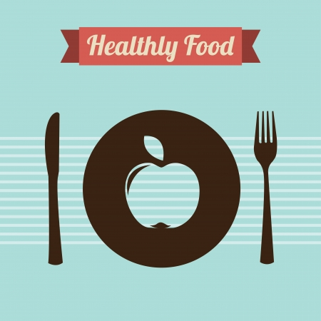 healthy food over lines background  Vector