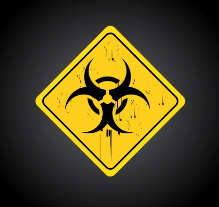 the bacteria signal: biohazard signal over black background