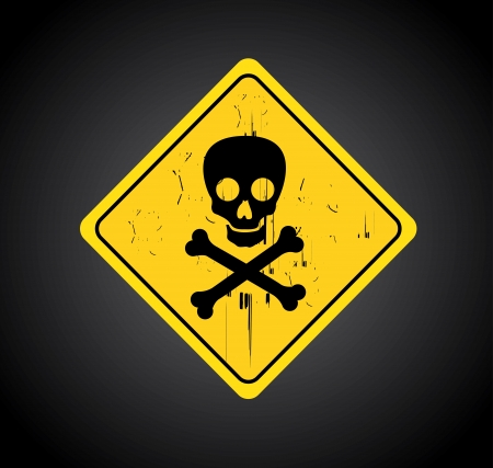 no label: danger signal over  black background  Illustration