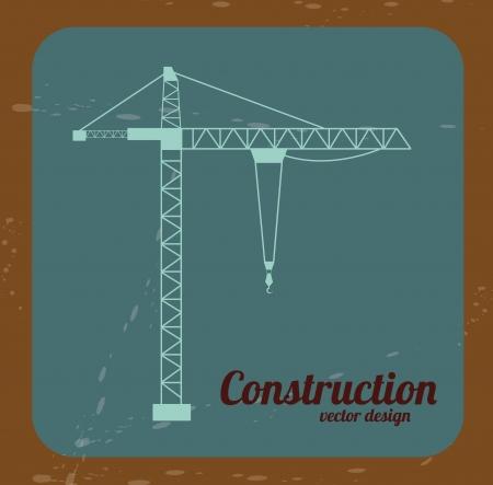 bouwkraan: bouw kraan op blauwe achtergrond. Stock Illustratie