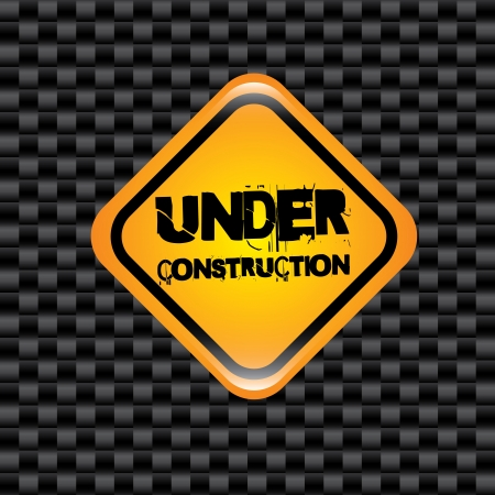 under construction signal over grid black background  Stock Vector - 20756602