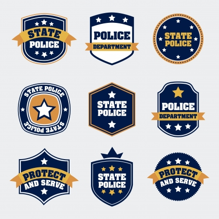 police state: police seals over white background