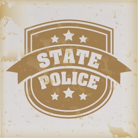 state police seal over vintage background  Vector