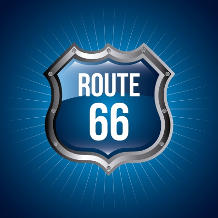 66: route 66 signal over blue background  Illustration