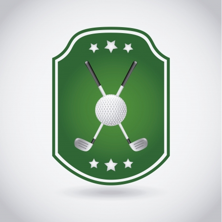 cartoon golf: golf label over gray background  Illustration
