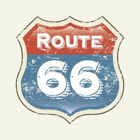 route 66 label over white background