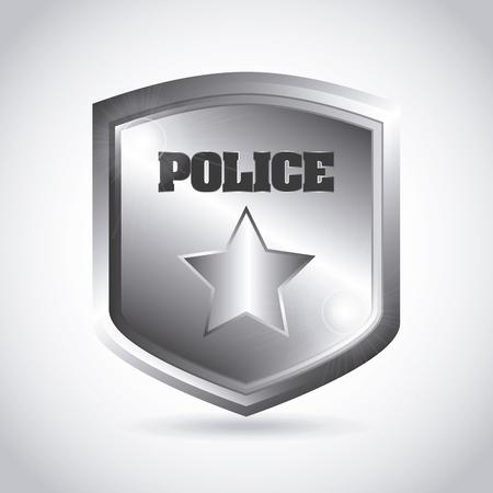 yıldız: gri arka plan üzerinde polis plakası Çizim