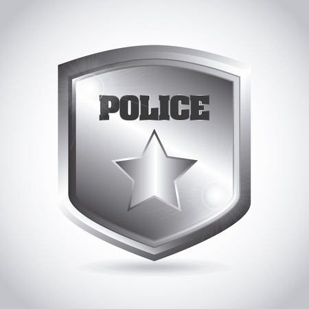 police station: police plate over gray background