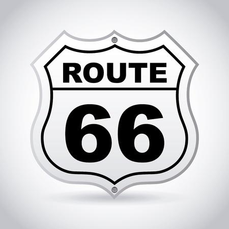 route 66 étiquette sur fond gris