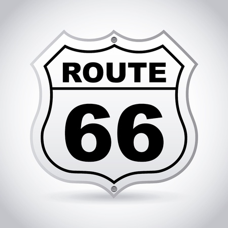 route 66 label over gray background