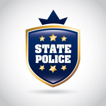 灰色の背景の上の州の警察