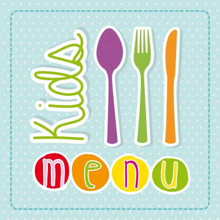 childrens meal: kids menu over dotted background  Illustration
