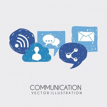 conection: communication icons over white background