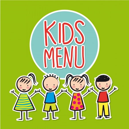 kids eating: kids menu over green background