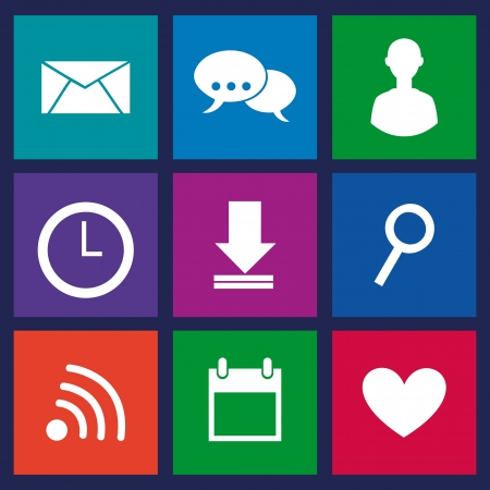 communication icons over blue background  Vector