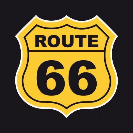 黒の背景上のルート 66 のラベル