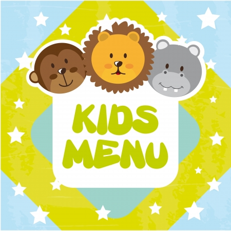 cartoon dinner: animals kids menu over blue background