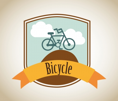 bicycle label over beige background Vector