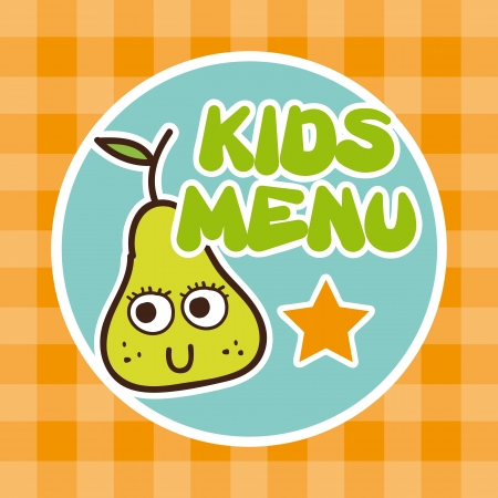 childrens food: kids menu over tablecloth background  Illustration