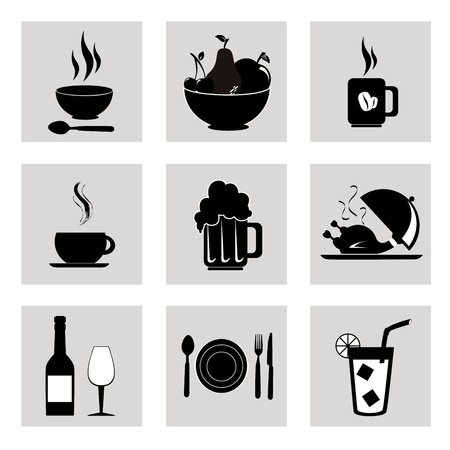 food and drinks icons over white background  Vector