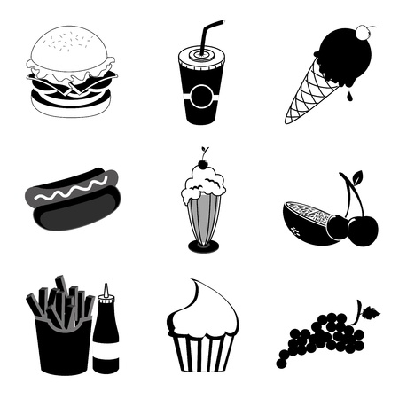 food and drinks over white background Stock Vector - 20756758