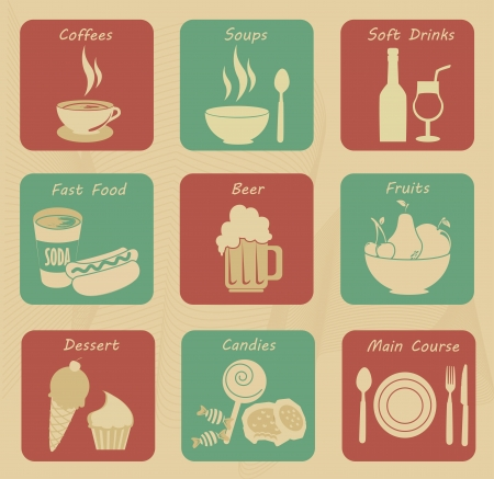 food and drinks icons over cream background  Vector