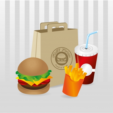 fast food over gray background  Vector