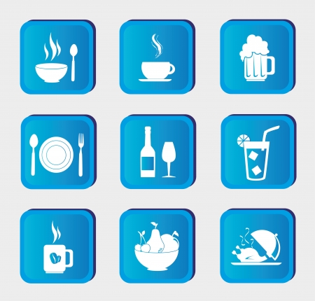 food and drinks icons over blue background  Vector
