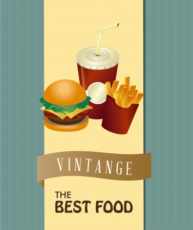 the best food over vintage background  Vector