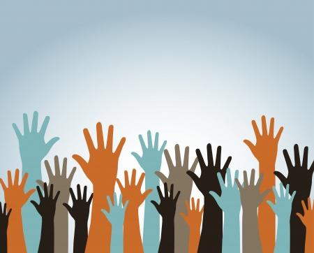 hands up over blue background