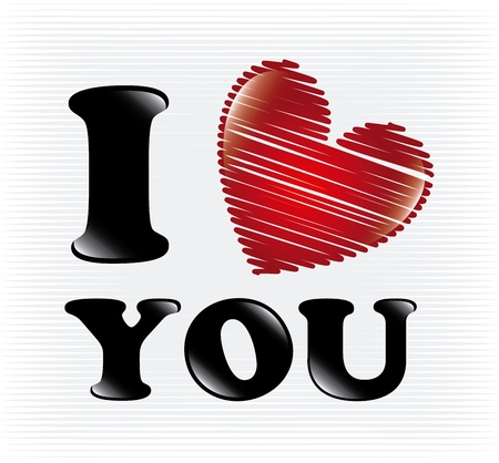 i love you over white background illustration