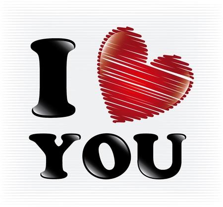 i love you over white background illustration Banco de Imagens - 20756489