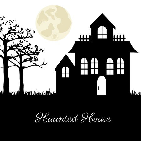 terrifying: haunted house over terrifying landscape background
