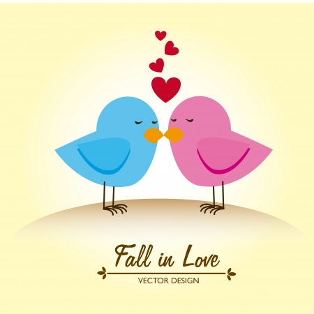 fall in love design over cream background Vector
