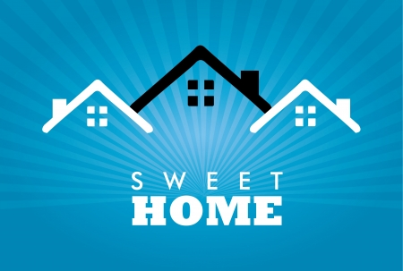 fireplaces: sweet home over blue background illustration